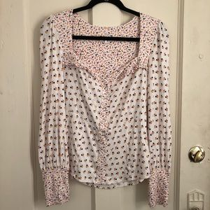 Free People | Floral Print Long Sleeve Blouse